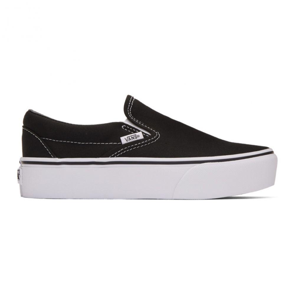 ヴァンズ Vans レディース スリッポン・フラット シューズ・靴【Black Classic Slip-On Platform Sneakers】Black