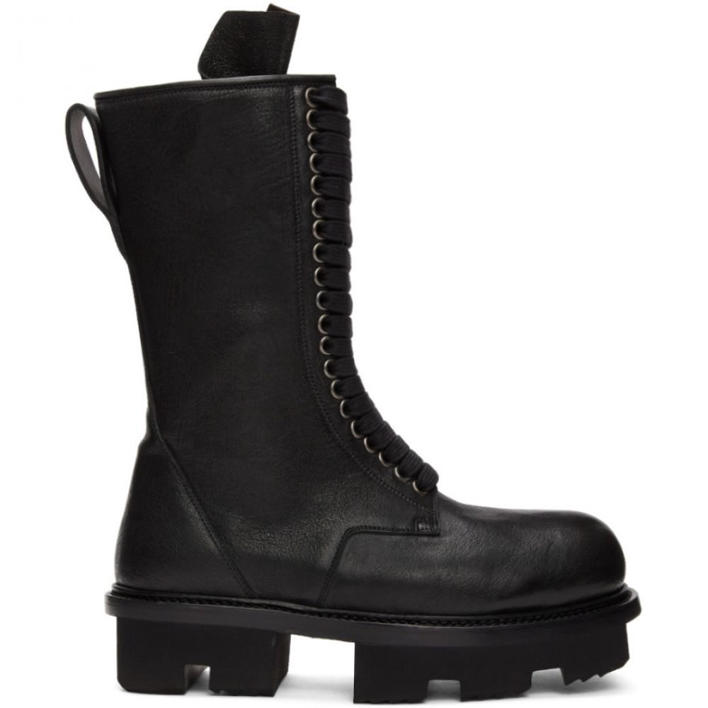 リック オウエンス Rick Owens レディース ブーツ シューズ・靴【Black Double Zip Army Megatooth Boots】Black