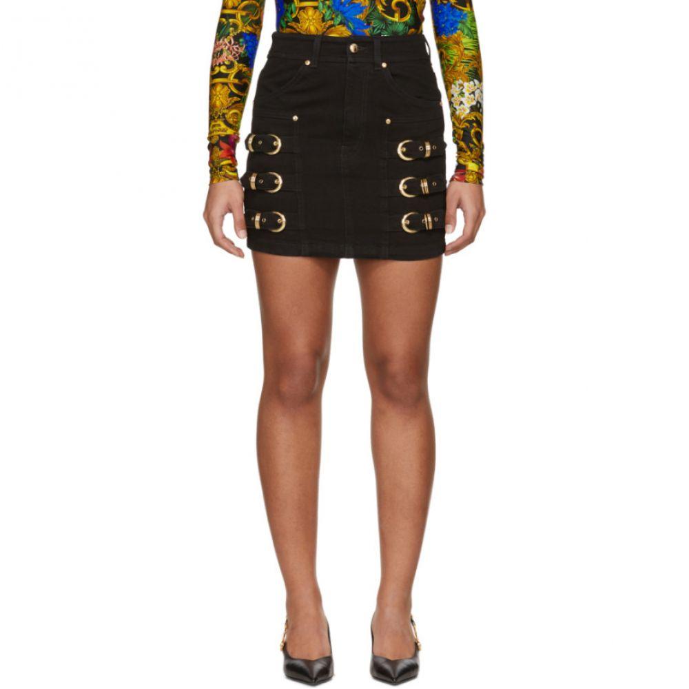 ヴェルサーチ Versace Jeans Couture レディース ミニスカート スカート【Black Denim Buckles Miniskirt】Black