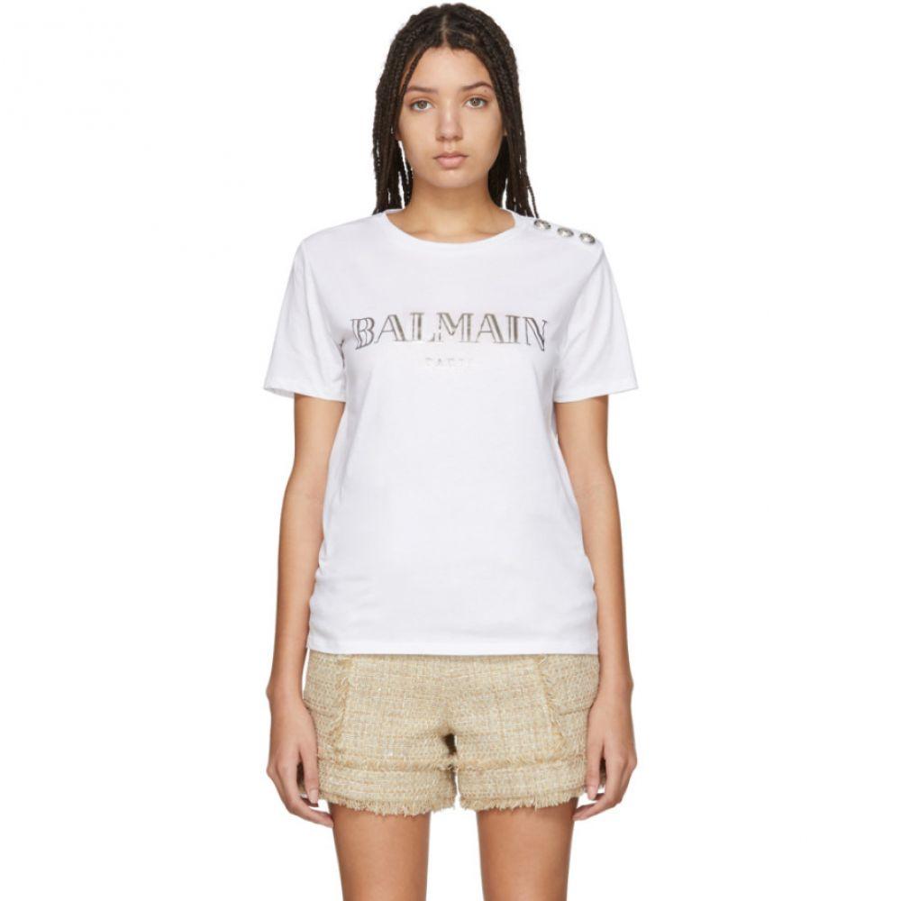 バルマン Balmain レディース Tシャツ トップス【White Metallic Logo T-Shirt】White