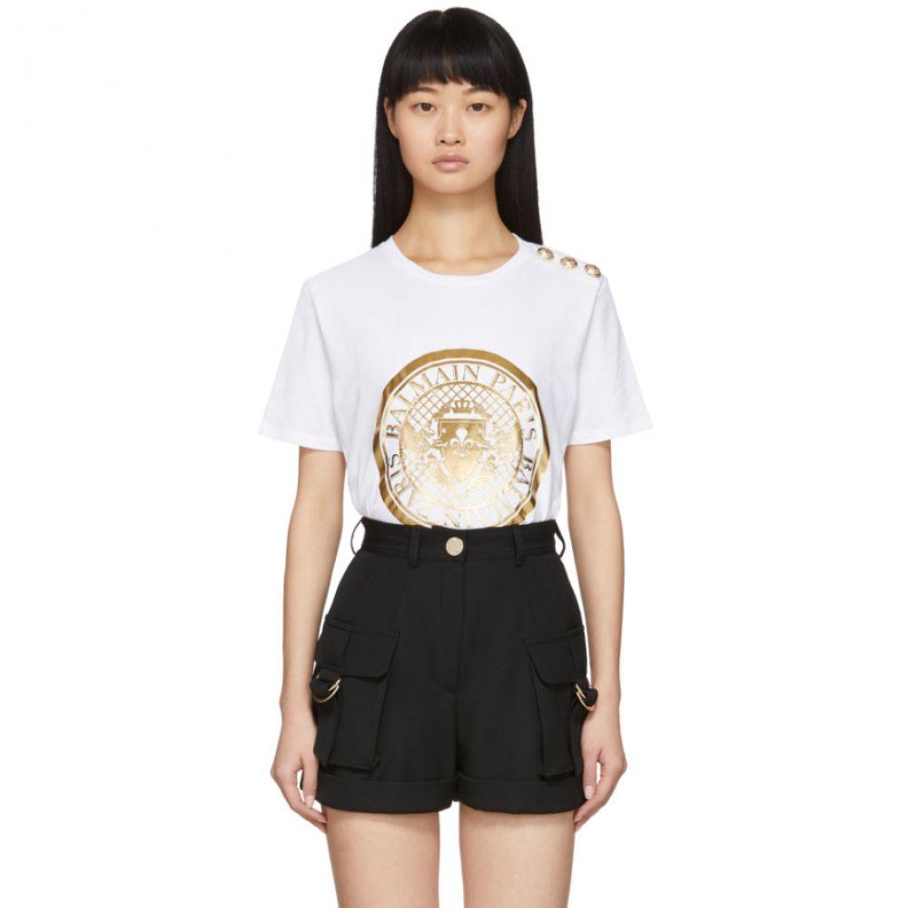 バルマン Balmain レディース Tシャツ トップス【White 3-Button Coin T-Shirt】White