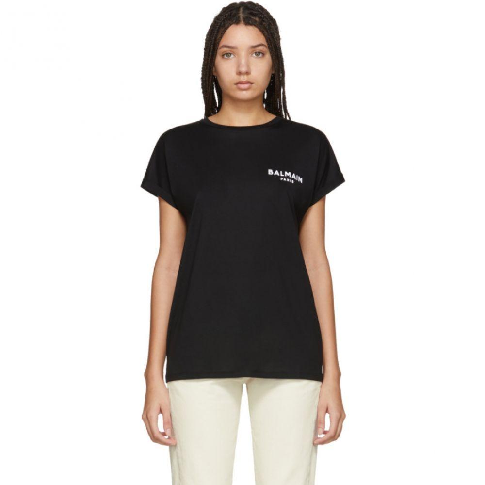 バルマン Balmain レディース Tシャツ トップス【Black Flocked Logo T-Shirt】Black/White