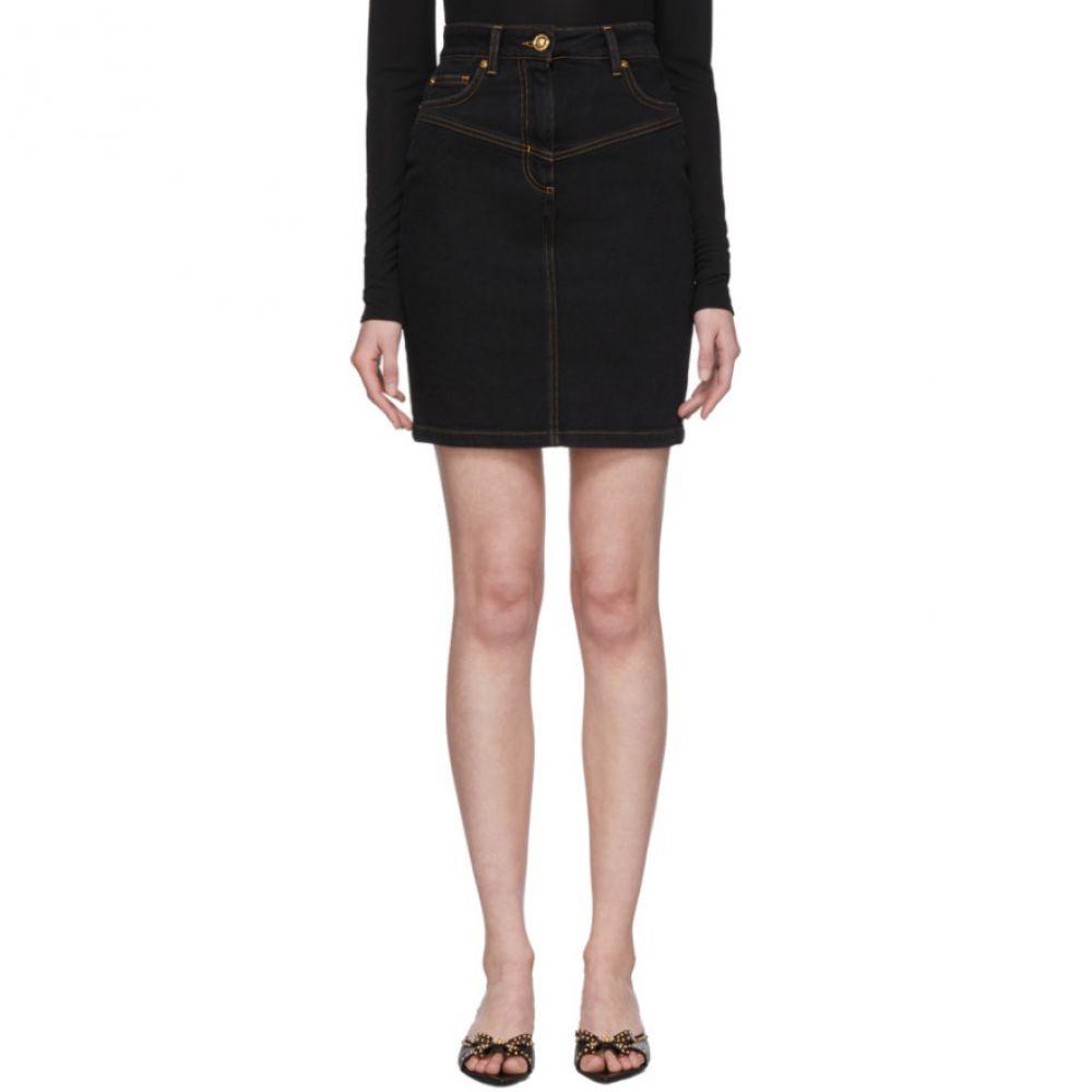 ヴェルサーチ Versace レディース ミニスカート デニム スカート【Black Denim High-Waisted Skirt】Denim
