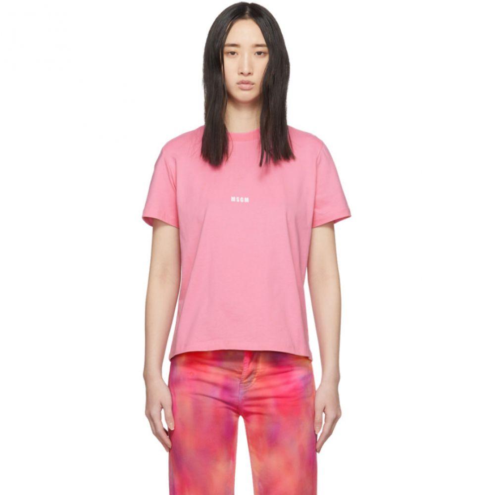 エムエスジーエム MSGM レディース Tシャツ トップス【Pink Logo T-Shirt】Pink