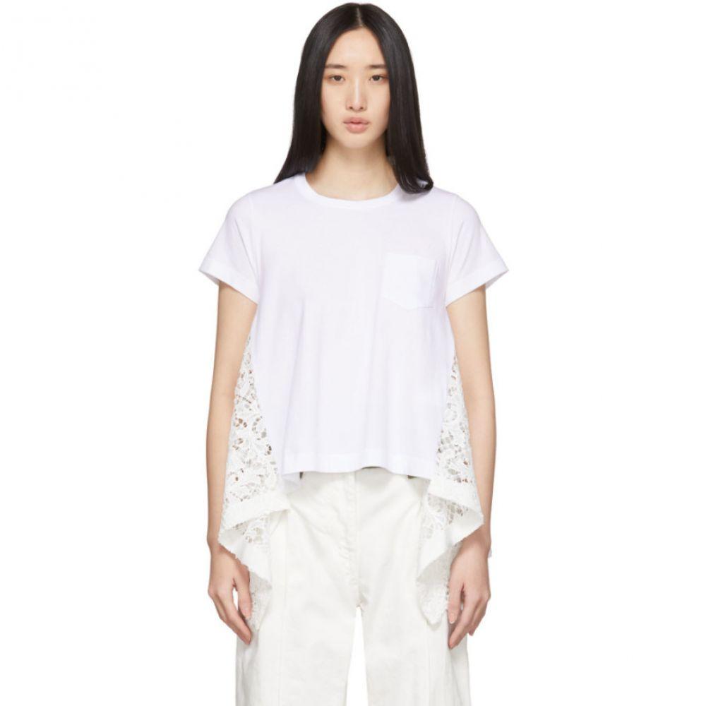 サカイ Sacai レディース Tシャツ トップス【White Embroidered Lace Back T-Shirt】White