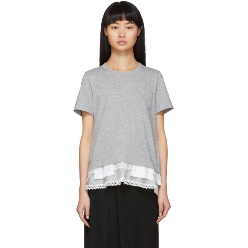 サカイ Sacai レディース Tシャツ トップス【Grey Lace Ruffle T-Shirt】Light grey