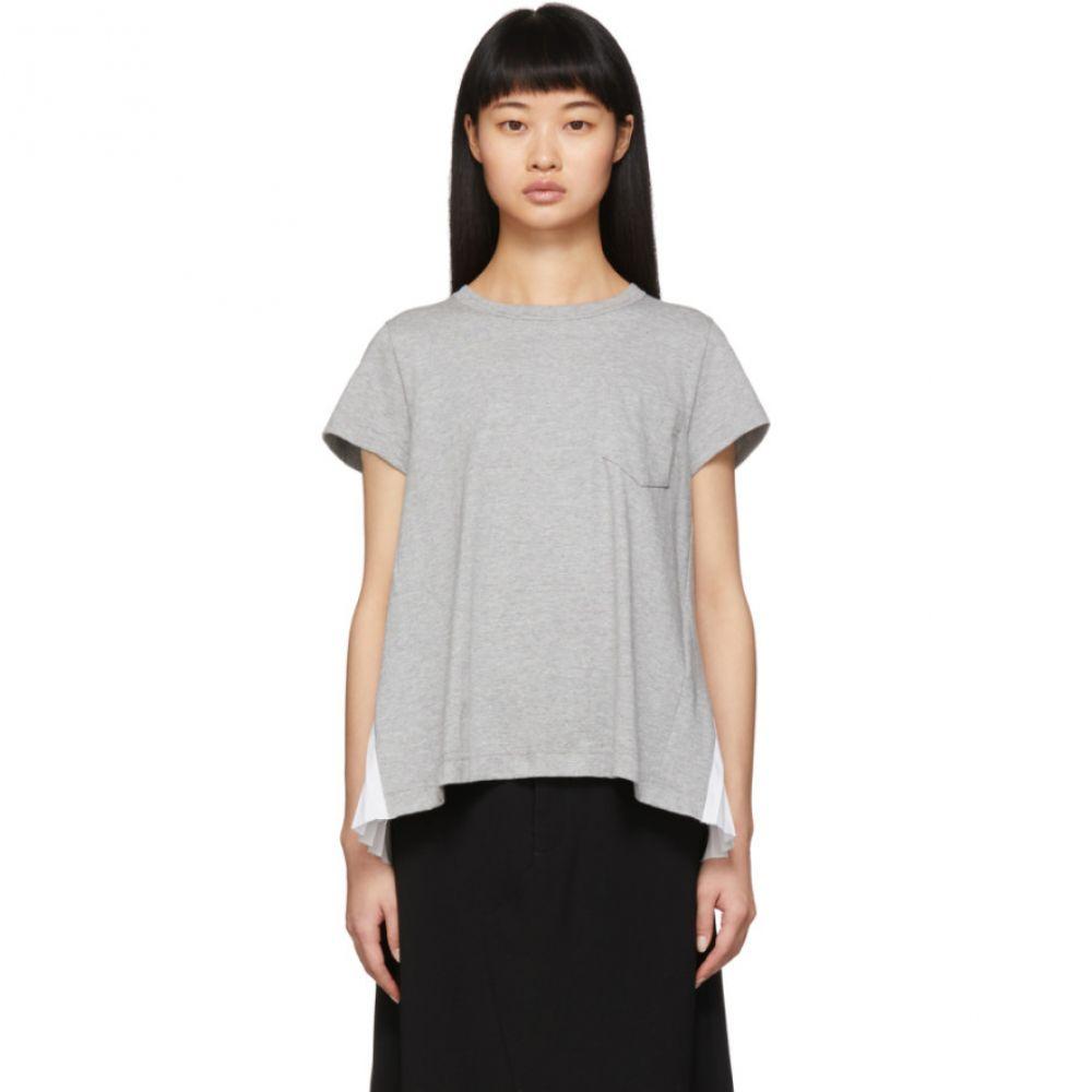 サカイ Sacai レディース Tシャツ トップス【Grey Pleated Panel T-Shirt】Grey