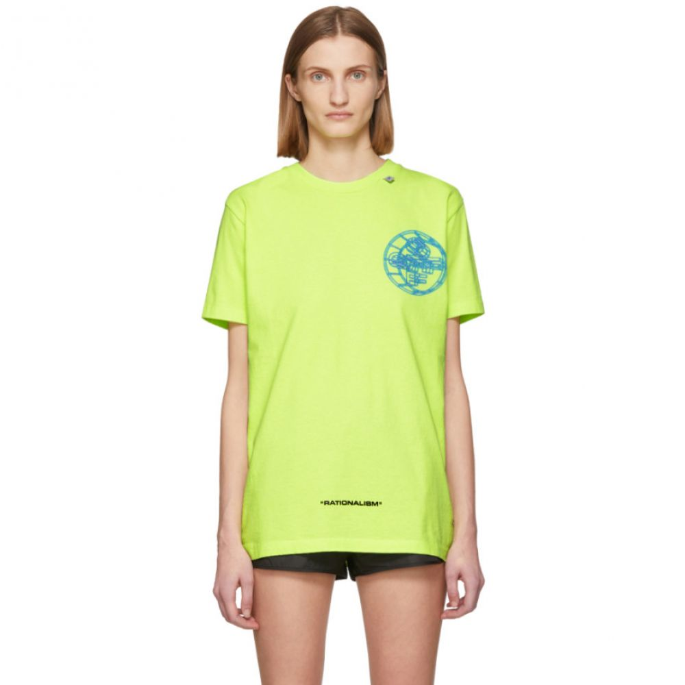 オフホワイト Off-White レディース Tシャツ トップス【Yellow Glow-In-The-Dark 3D Cross T-Shirt】Fluo yellow