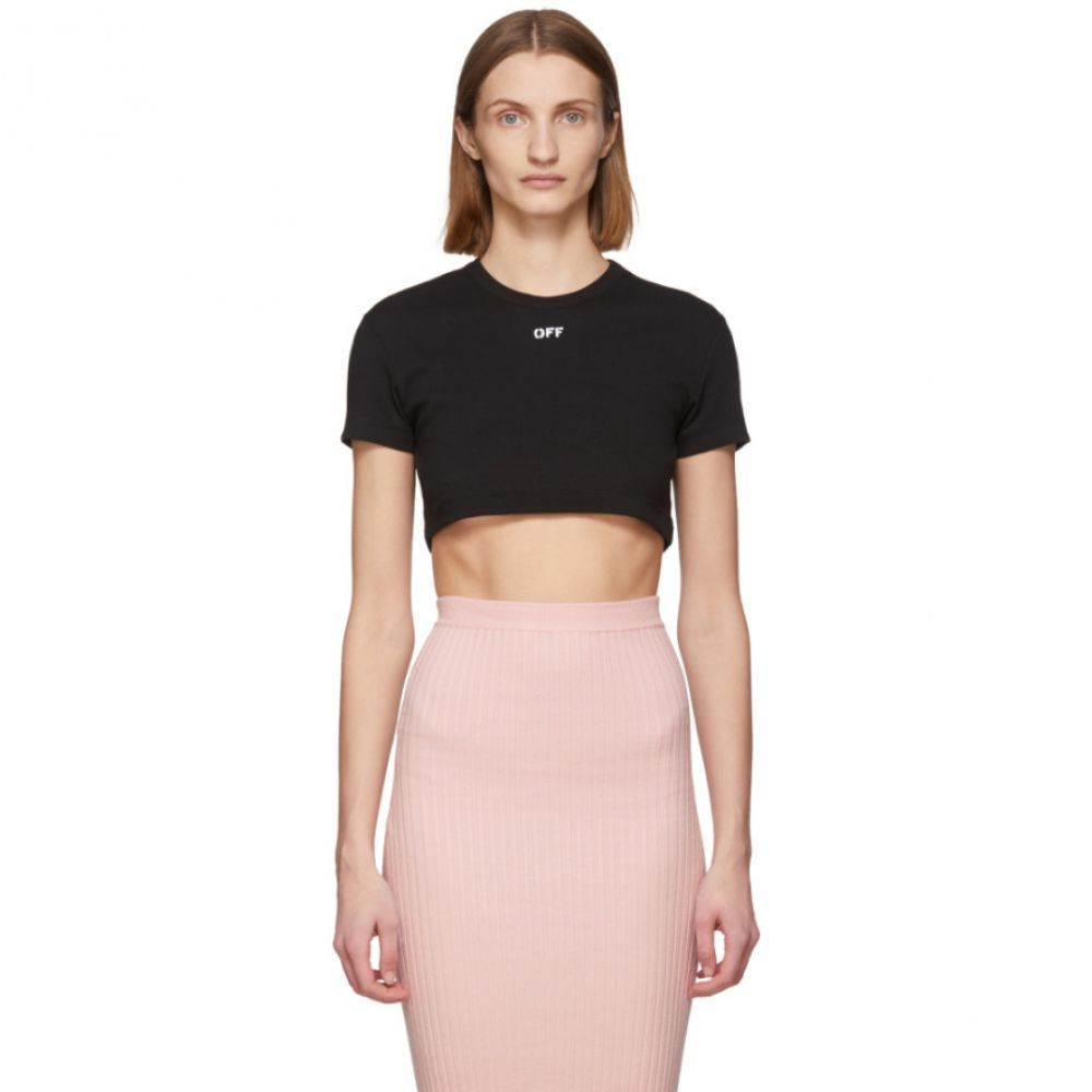 オフホワイト Off-White レディース Tシャツ トップス【SSENSE Exclusive Black Rib T-Shirt】Black