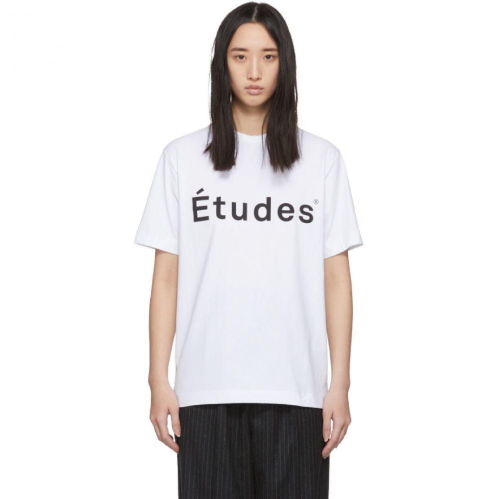 エチュード Etudes レディース Tシャツ トップス【White Wonder Logo T-Shirt】White