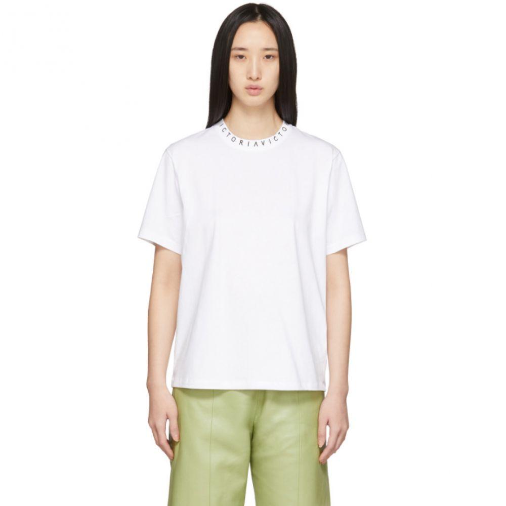 ヴィクトリア ベッカム Victoria Victoria Beckham レディース Tシャツ トップス【White Logo T-Shirt】White/Black