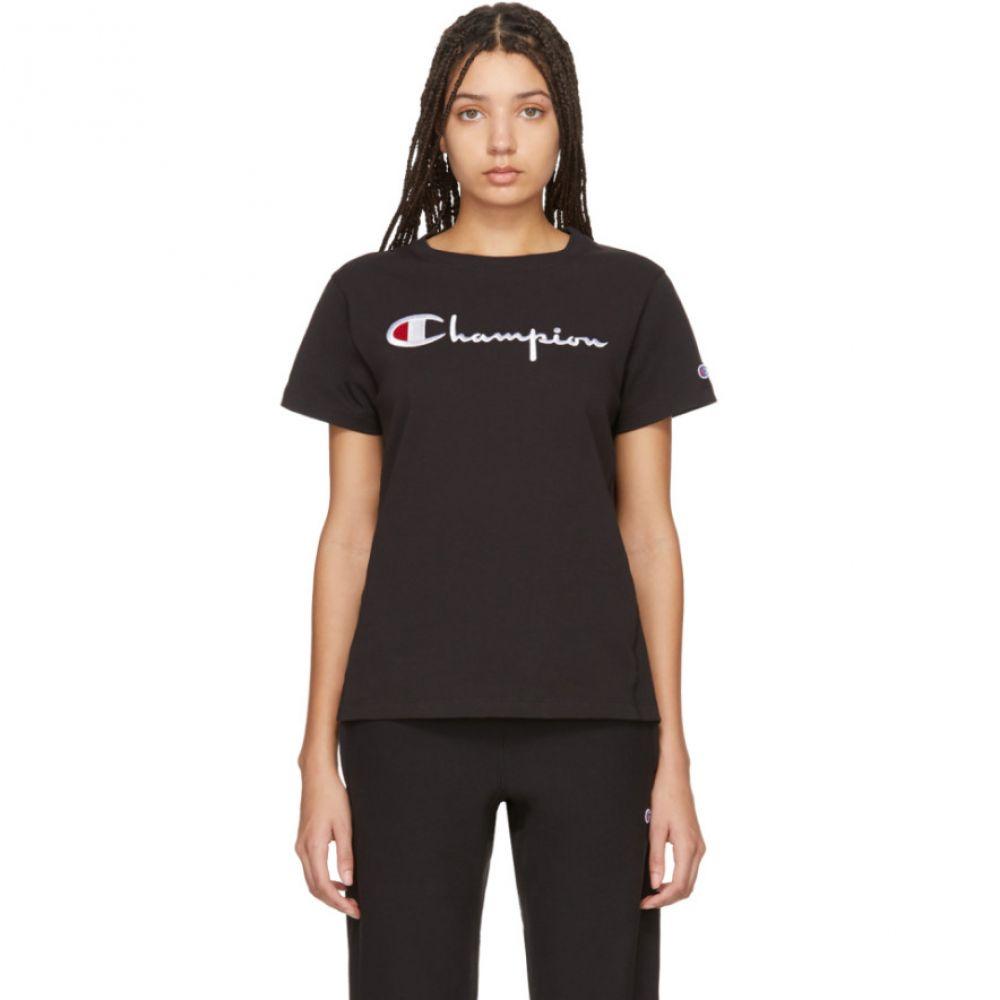 チャンピオン Champion Reverse Weave レディース Tシャツ トップス【Black Big Script T-Shirt】Black