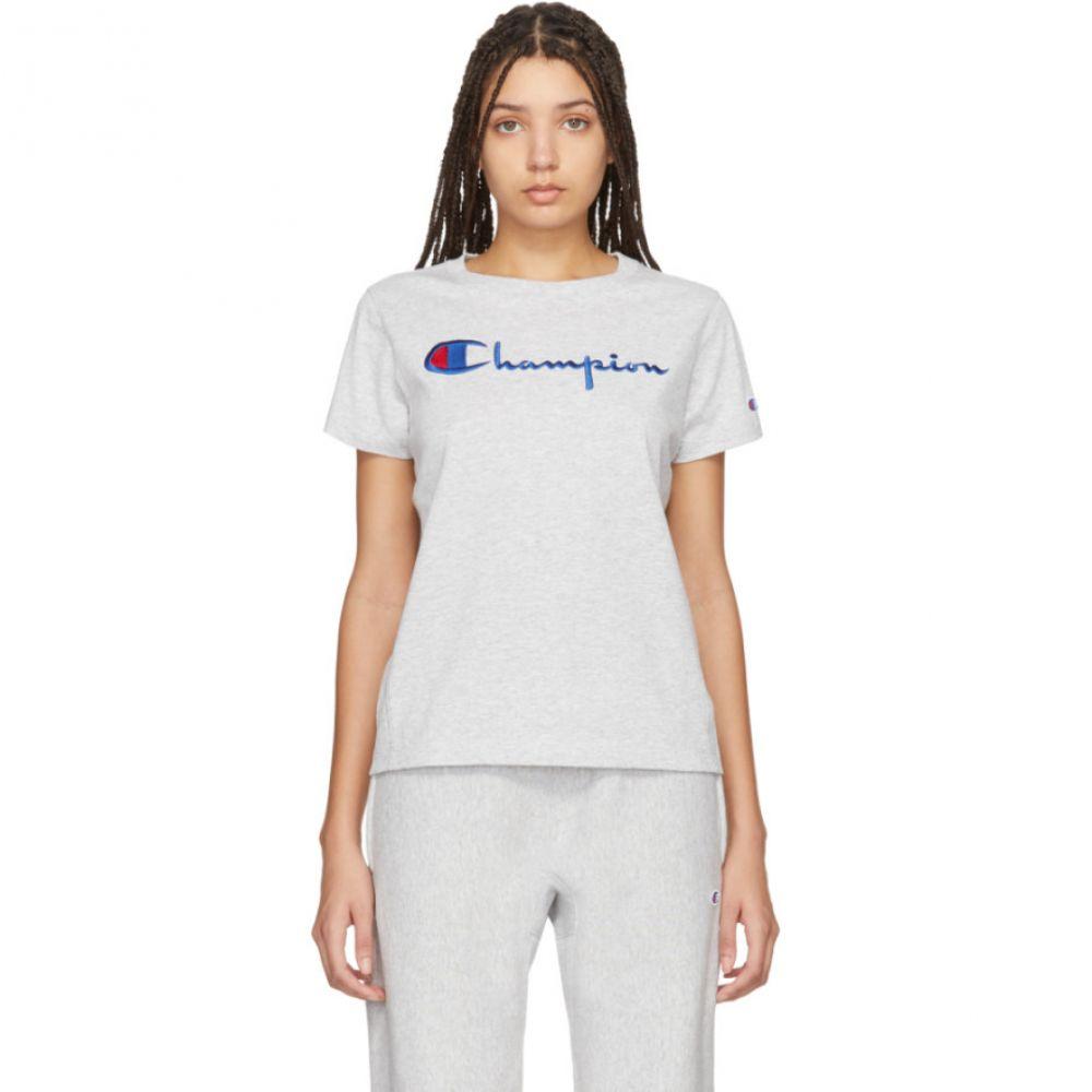 チャンピオン Champion Reverse Weave レディース Tシャツ トップス【Grey Big Script T-Shirt】Grey