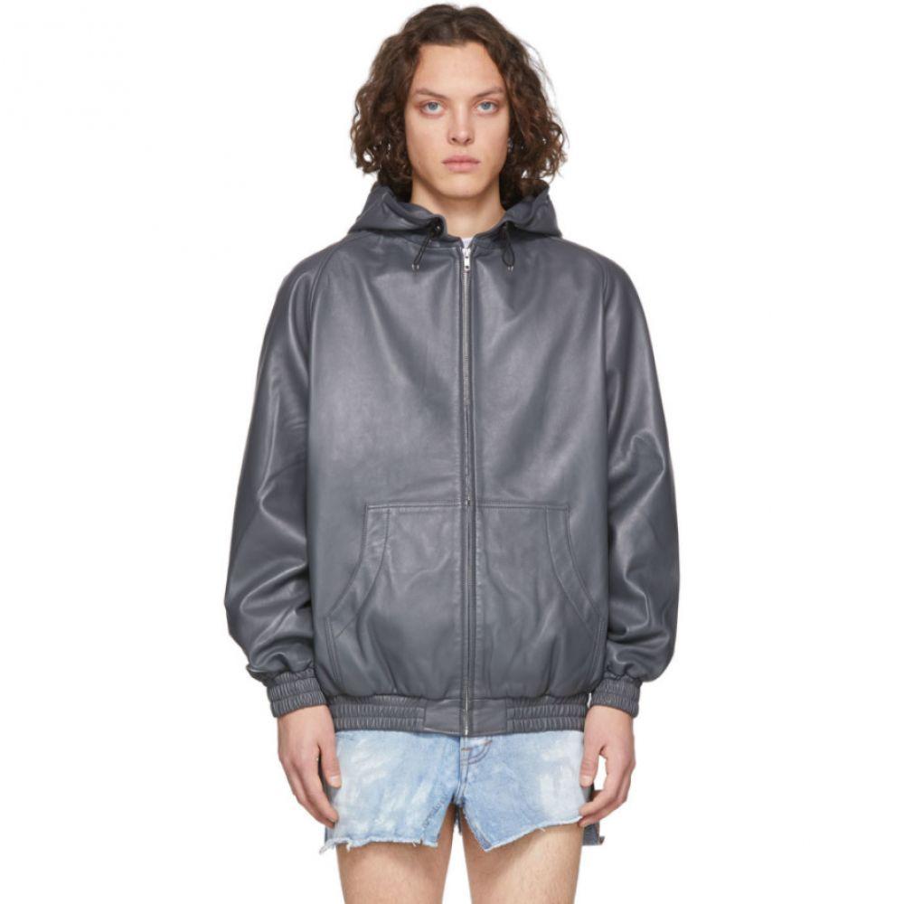 ランダム アイデンティティーズ Random Identities メンズ レザージャケット アウター【Grey Leather Hoodie Jacket】Grey