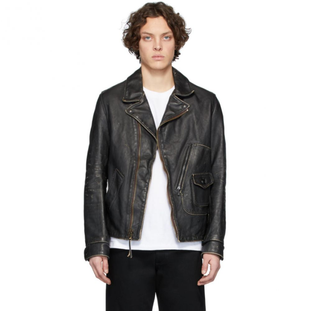 ショット Schott メンズ レザージャケット アウター【Black Hand Vintaged D-Pocket Jacket】Black