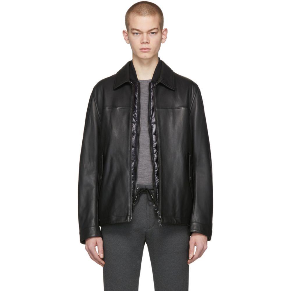 ヒューゴ ボス Boss メンズ レザージャケット アウター【Black Leather Mupton Jacket】Black