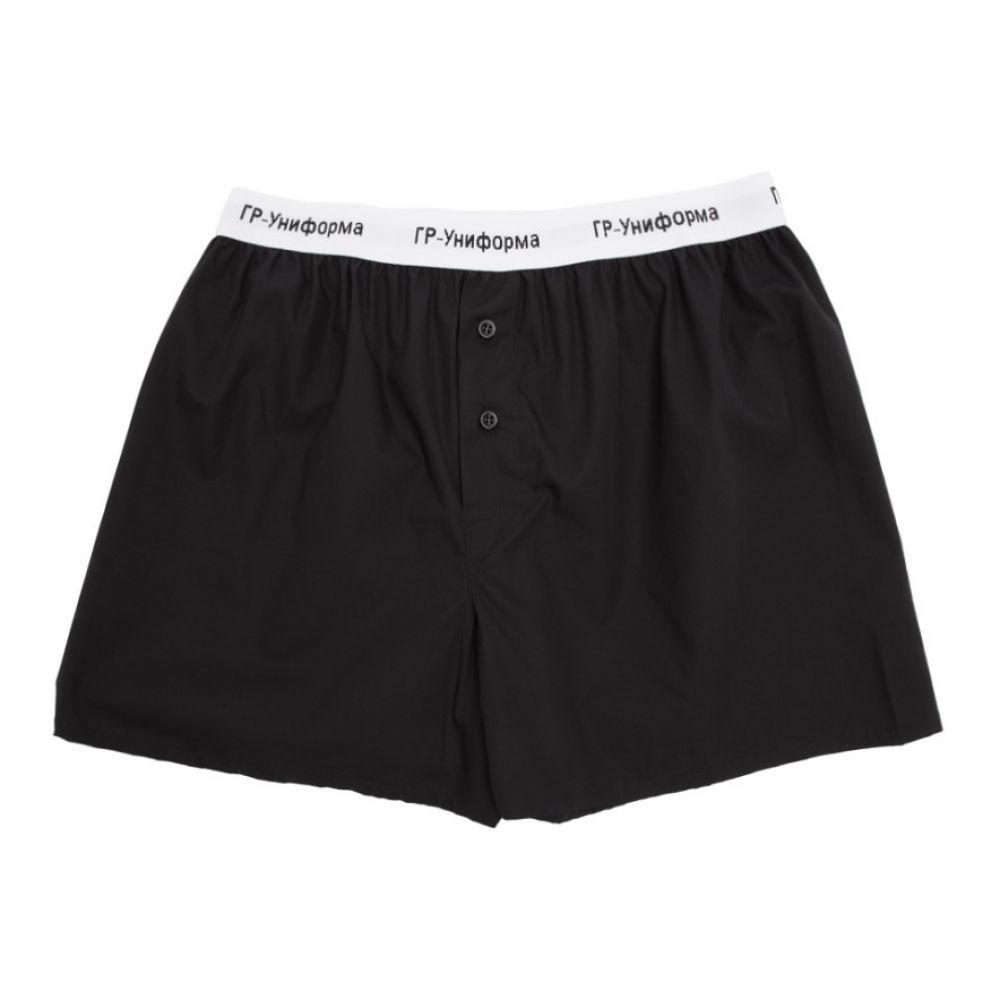 ジーアール ユニフォーマ GR-Uniforma メンズ ボクサーパンツ インナー・下着【Black Cotton Poplin Boxers】Black
