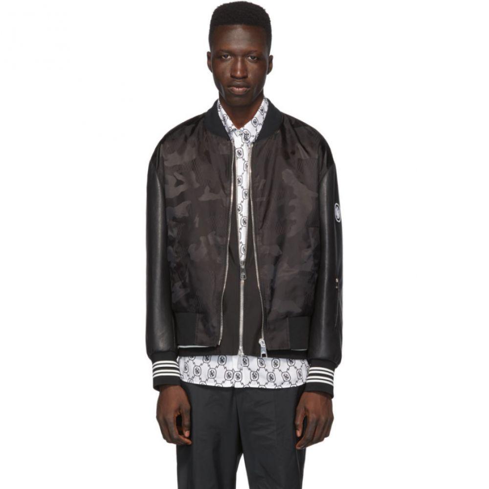 ニール バレット Neil Barrett メンズ ブルゾン ミリタリージャケット アウター【Black Camo Bolt Vest Lining Bomber Jacket】Black