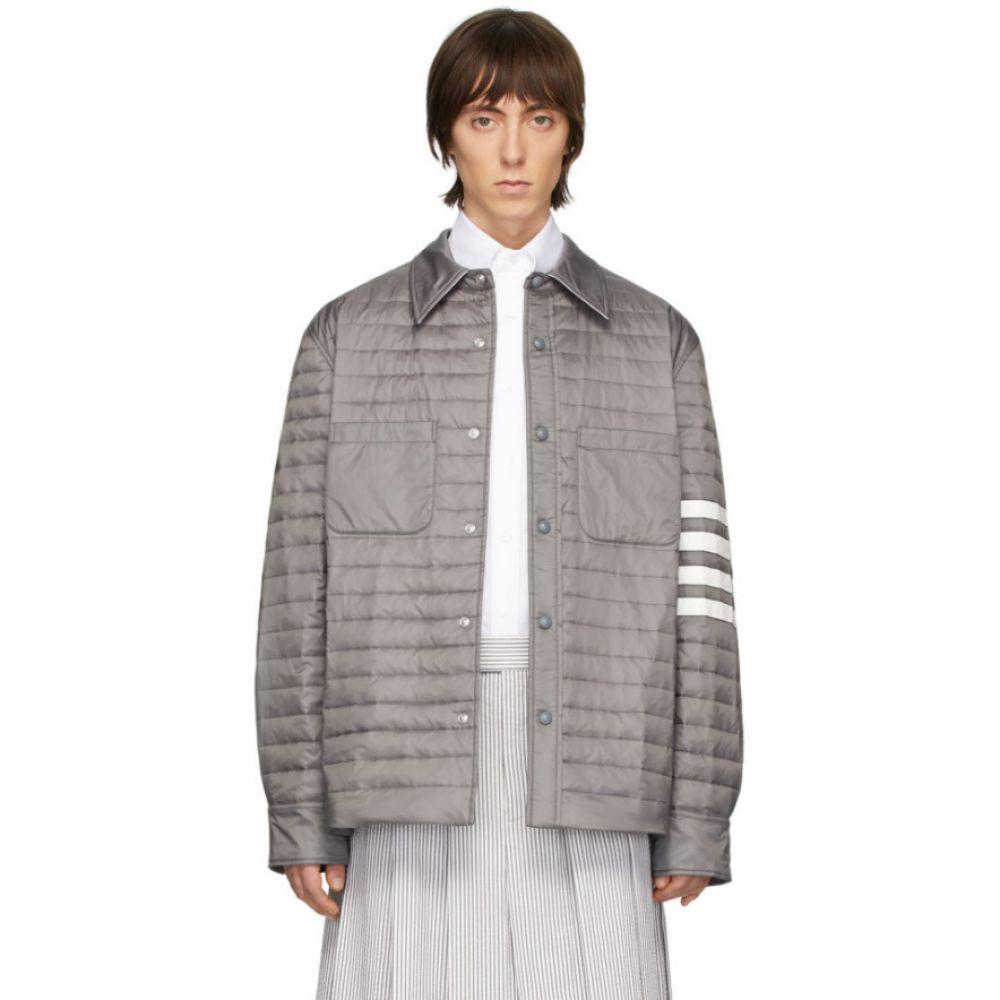 トム ブラウン Thom Browne メンズ ダウン・中綿ジャケット シャツジャケット アウター【Grey Down 4-Bar Quilted Shirt Jacket】Grey