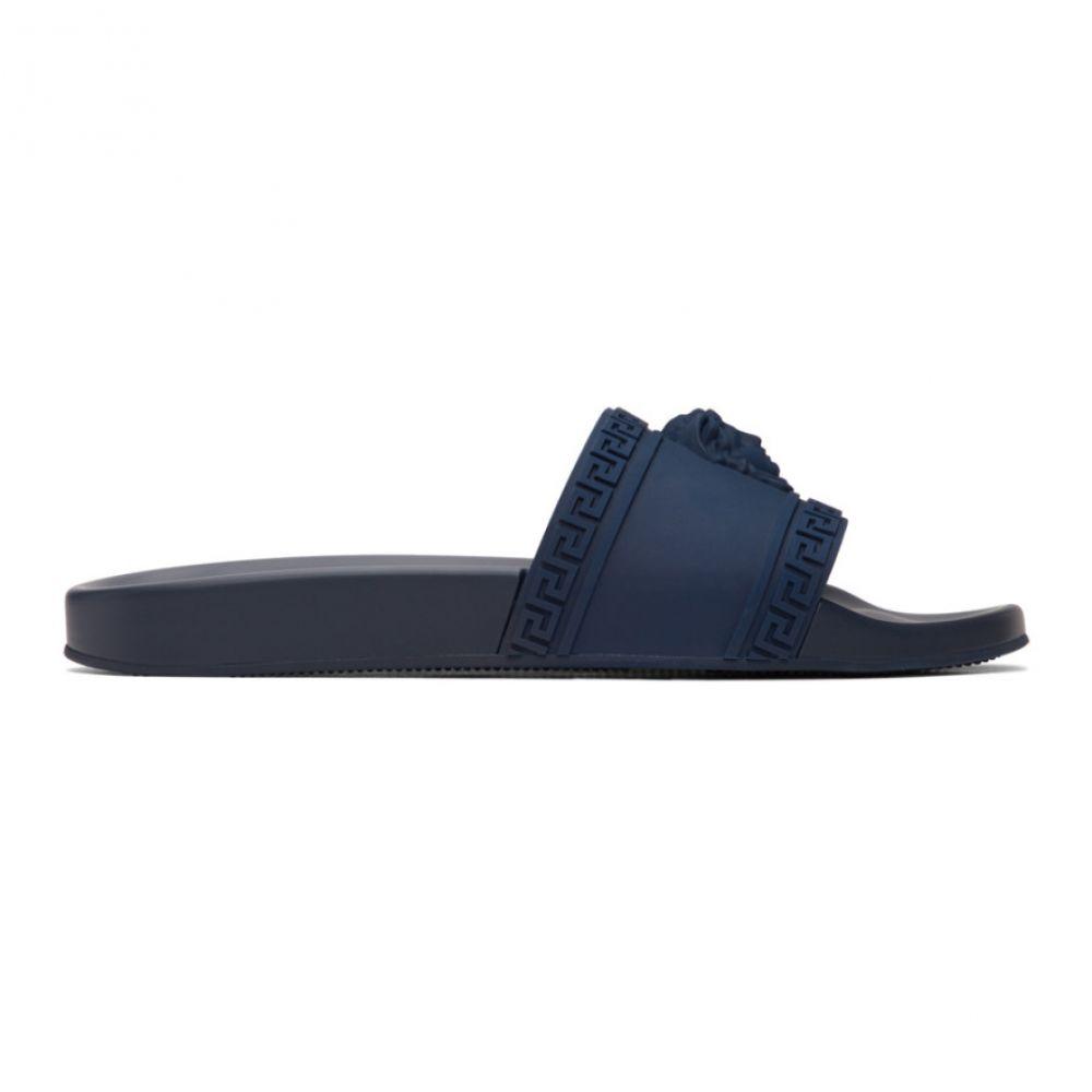 ヴェルサーチ Versace メンズ サンダル メデューサ シューズ・靴【Navy Medusa Pool Slides】Navy