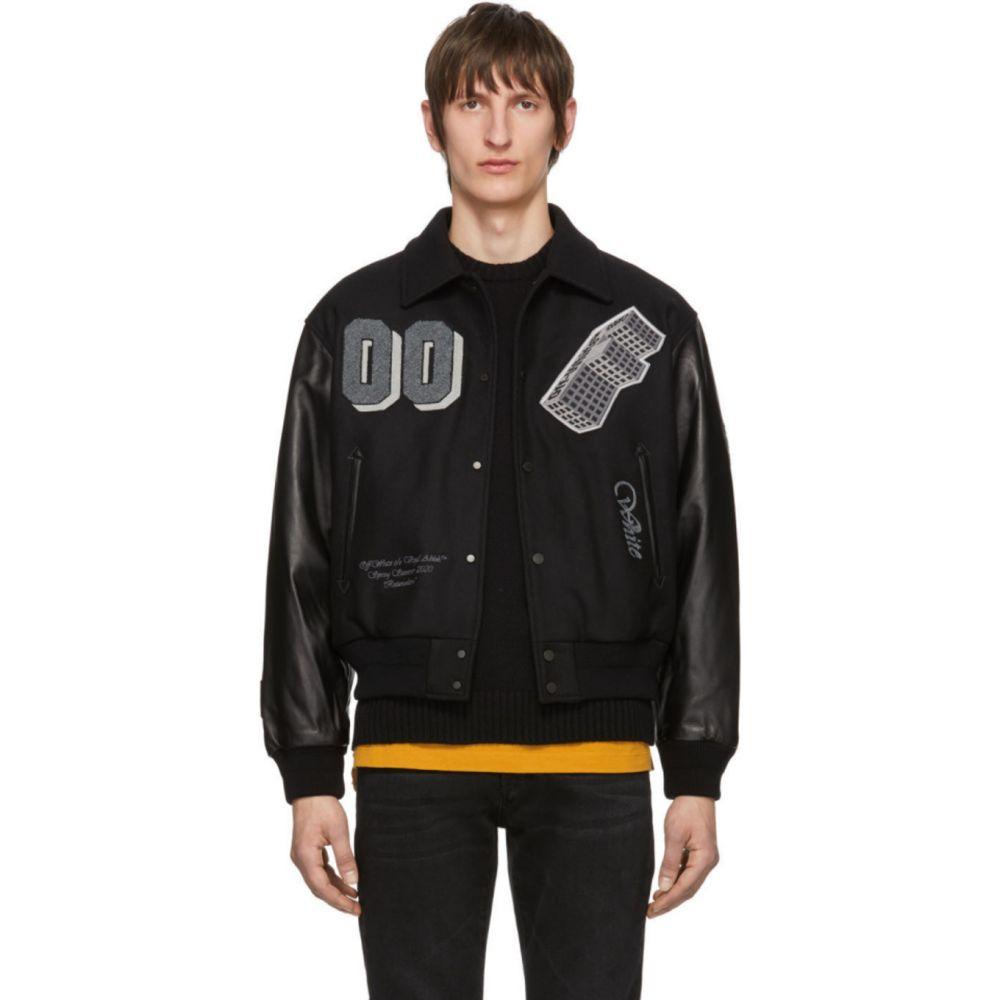 オフホワイト Off-White メンズ レザージャケット アウター【Black Leather 'Golden Ratio' Varsity Jacket】Black