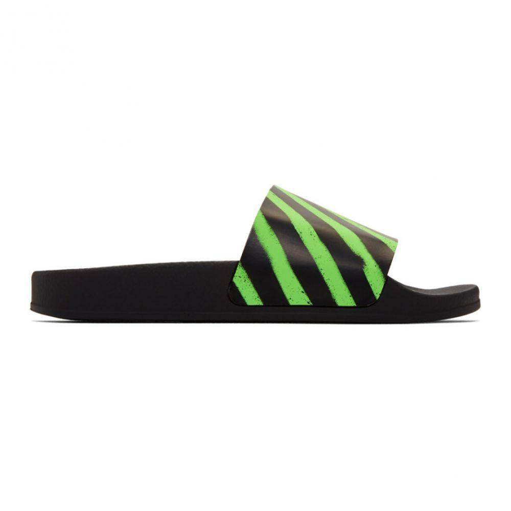 オフホワイト Off-White メンズ サンダル シューズ・靴【Black & Green Spray Pool Slides】Black/Green