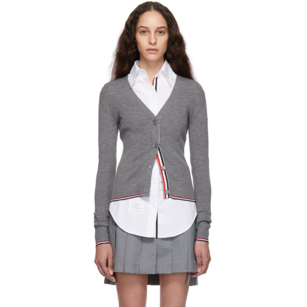 トム ブラウン Thom Browne レディース カーディガン トップス【Grey Rib Stitch Tipping Stripe Cardigan】Light grey