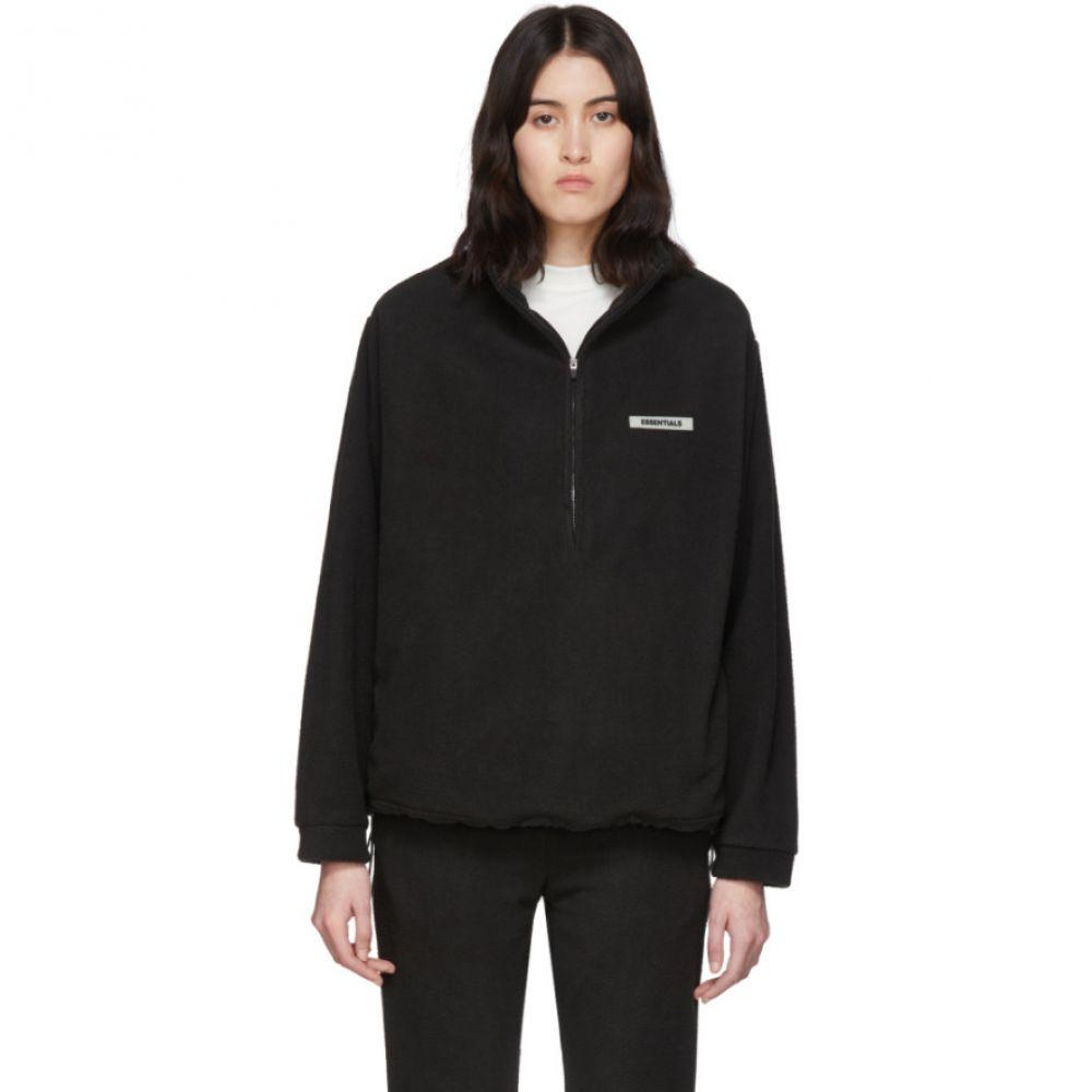 エッセンシャルズ Essentials レディース ニット・セーター トップス【Black Fleece Half-Zip Sweater】Black