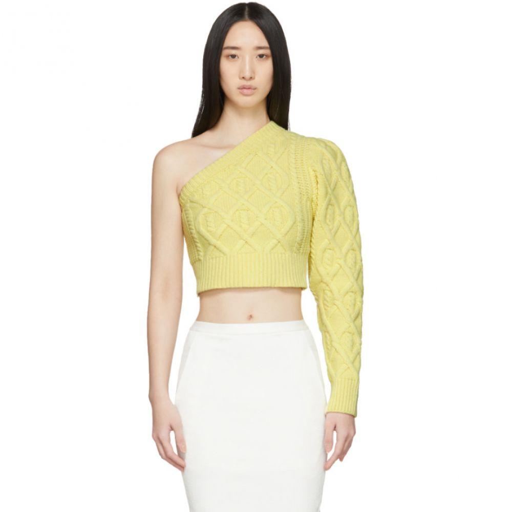ワンダリング Wandering レディース ニット・セーター トップス【Yellow Single Shoulder Cropped Sweater】Yellow