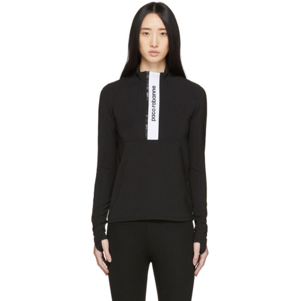 パコラバンヌ Paco Rabanne レディース トップス 【Black Bodyline Half-Zip Sweatshirt】Black