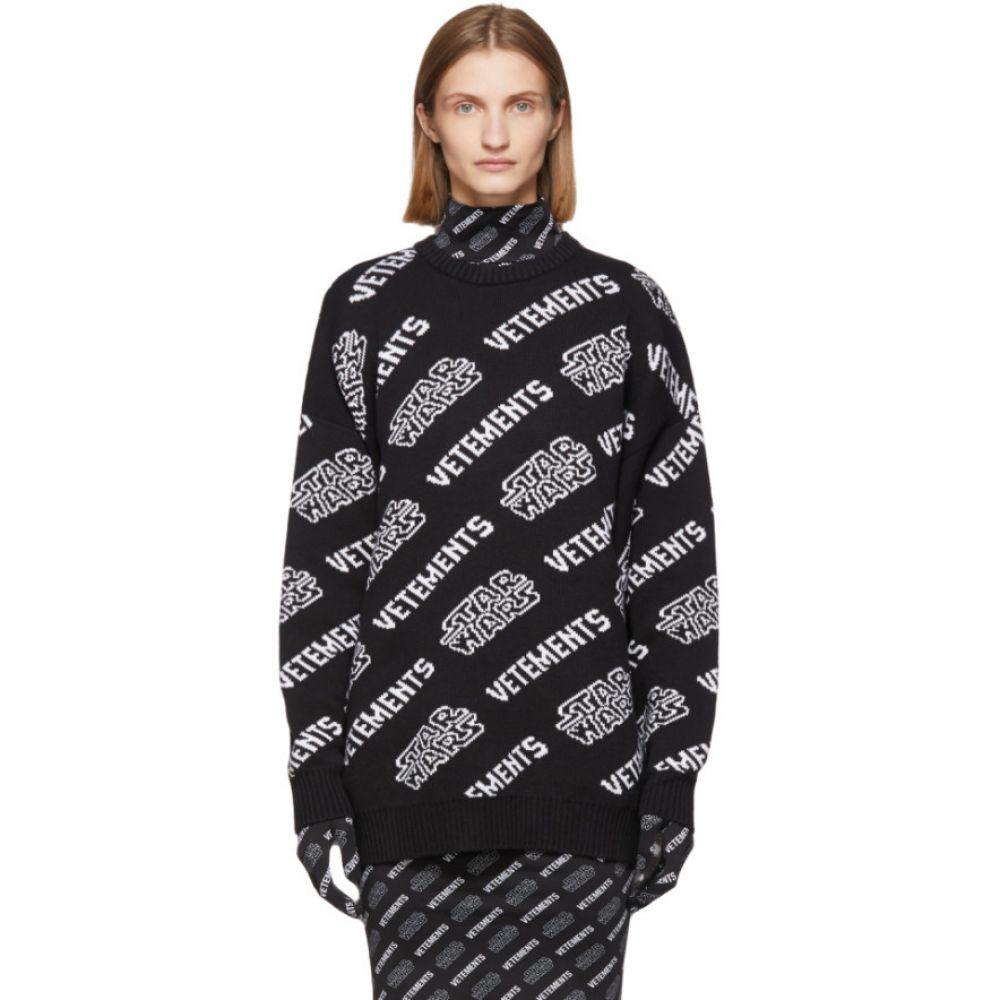 ヴェトモン VETEMENTS レディース ニット・セーター トップス【Black & White STAR WARS Edition All Over Logo Sweater】Black/White
