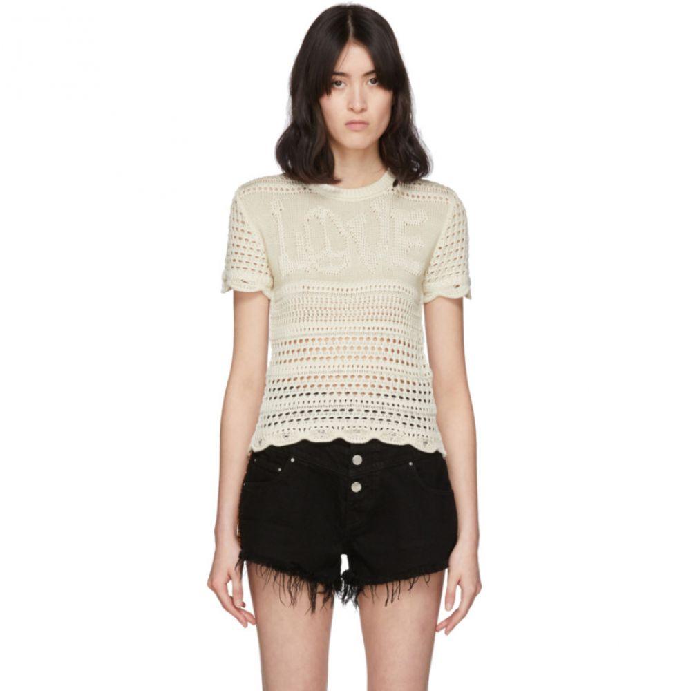 アミリ Amiri レディース Tシャツ トップス【Off-White 'Love' Crochet T-Shirt】Ivory