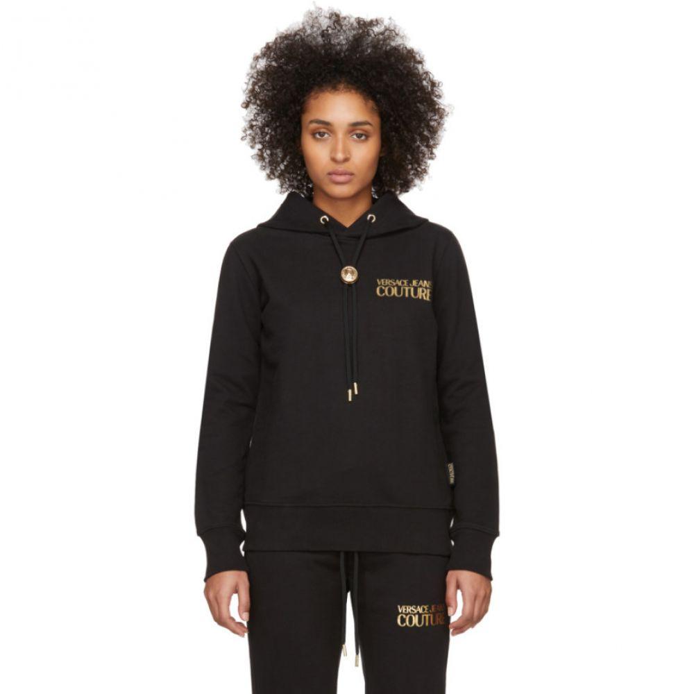 ヴェルサーチ Versace Jeans Couture レディース パーカー トップス【Black Logo Hoodie】Black