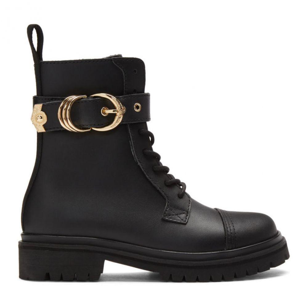 ヴェルサーチ Versace Jeans Couture レディース ハイキング・登山 ブーツ シューズ・靴【Black Leather Hiking Boots】Black