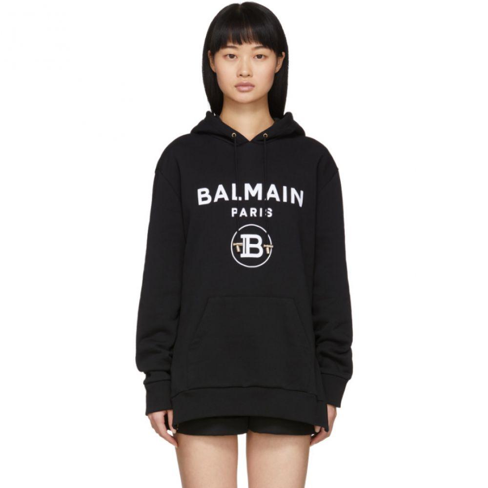 バルマン Balmain レディース パーカー トップス【Black Flocked Logo Hoodie】Black/White