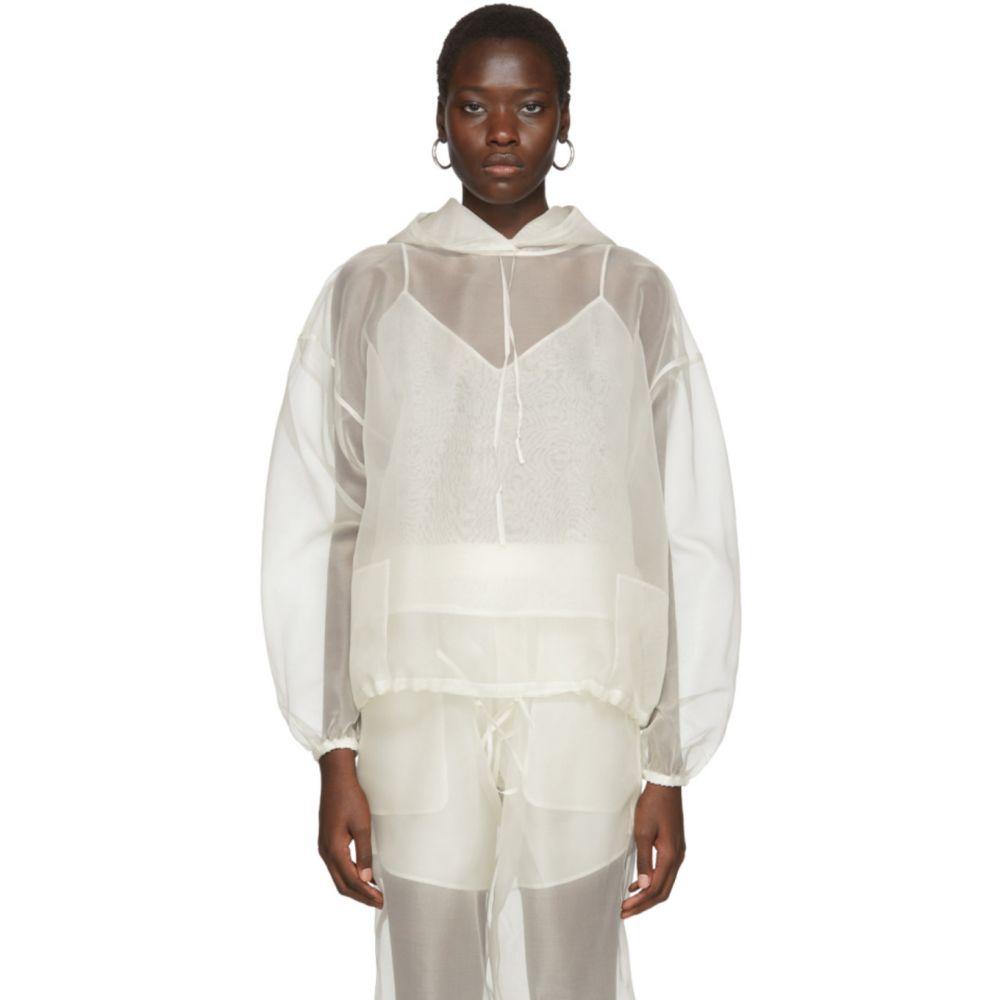 アーチ ザ Arch The レディース パーカー トップス【Off-White Sheer Silk Hoodie】Ivory