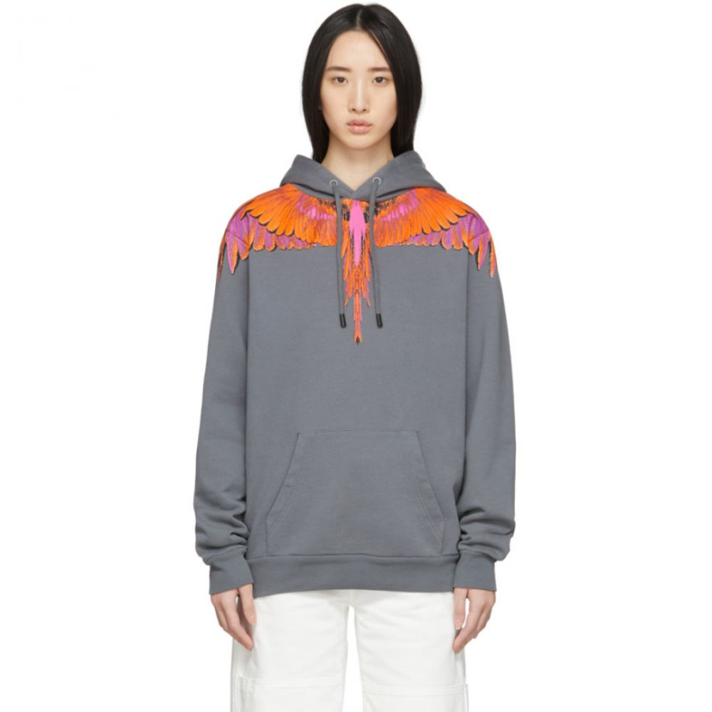マルセロバーロン Marcelo Burlon County of Milan レディース パーカー トップス【Grey & Orange Wings Hoodie】Anthra/Red