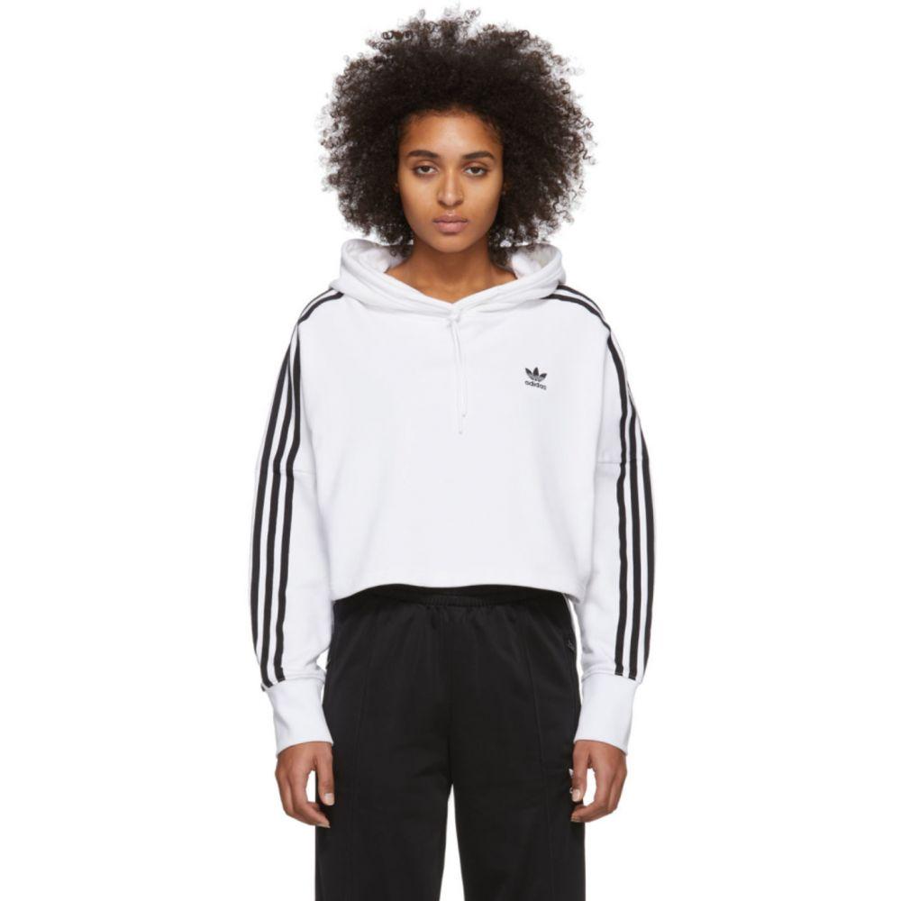 アディダス adidas Originals レディース パーカー トップス【White Cropped Hoodie】White