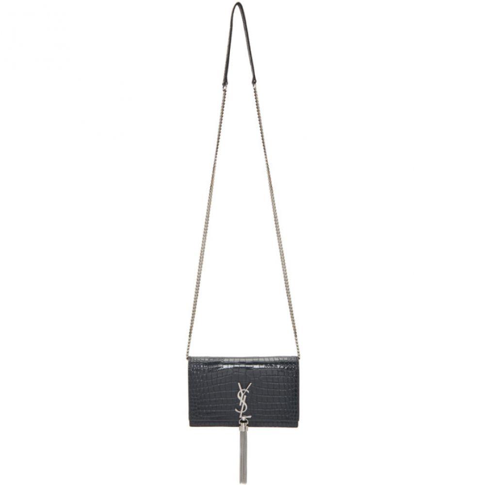 イヴ サンローラン Saint Laurent レディース ショルダーバッグ バッグ【Grey Croc Kate Tassel Chain Wallet Bag】Smog