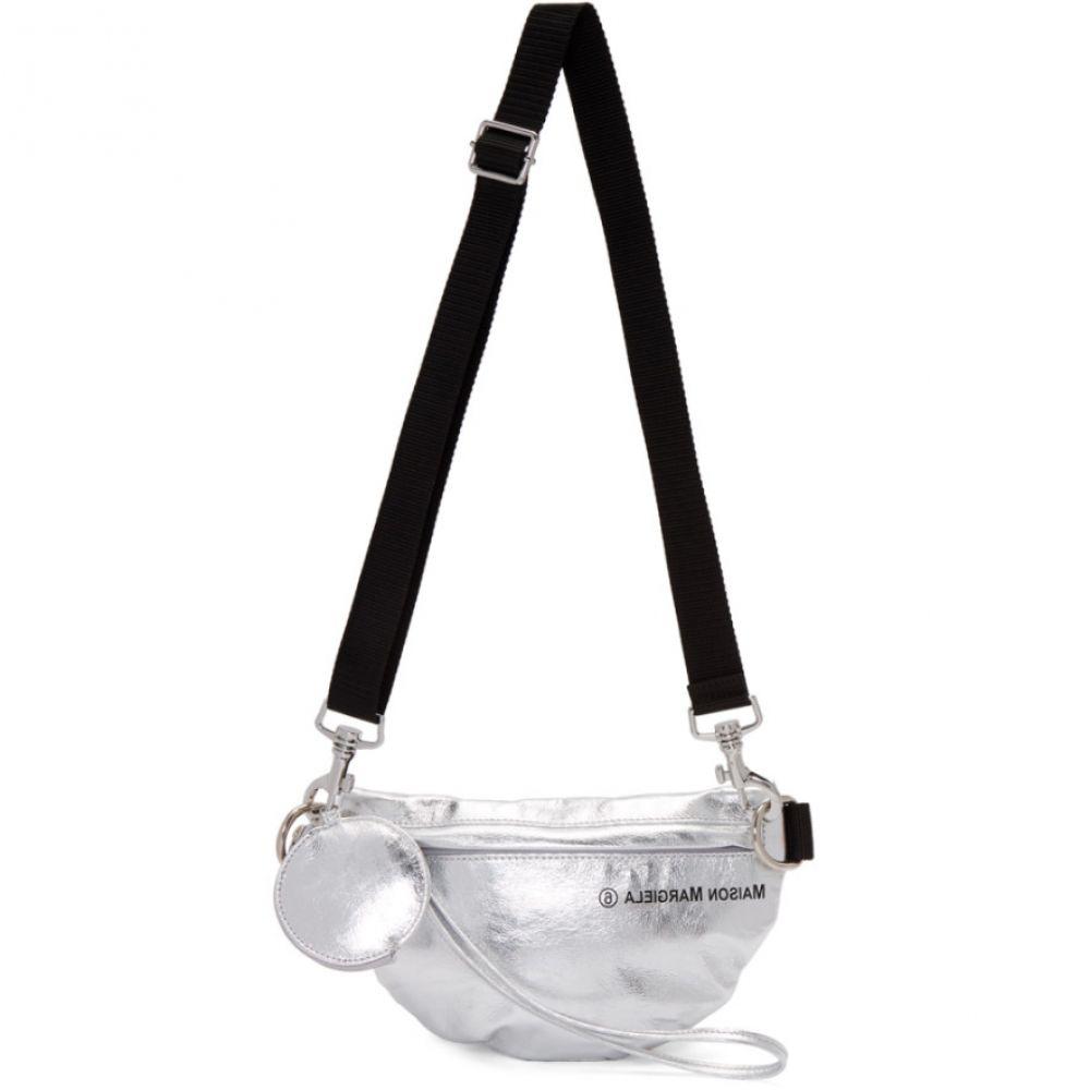 メゾン マルジェラ MM6 Maison Margiela レディース ボディバッグ・ウエストポーチ バッグ【Silver Faux-Patent Two-Compartment Bum Bag】Silver