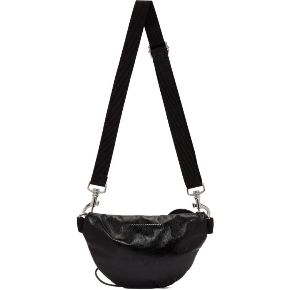 メゾン マルジェラ MM6 Maison Margiela レディース ボディバッグ・ウエストポーチ バッグ【Black Faux-Patent Two-Compartment Bum Bag】Black