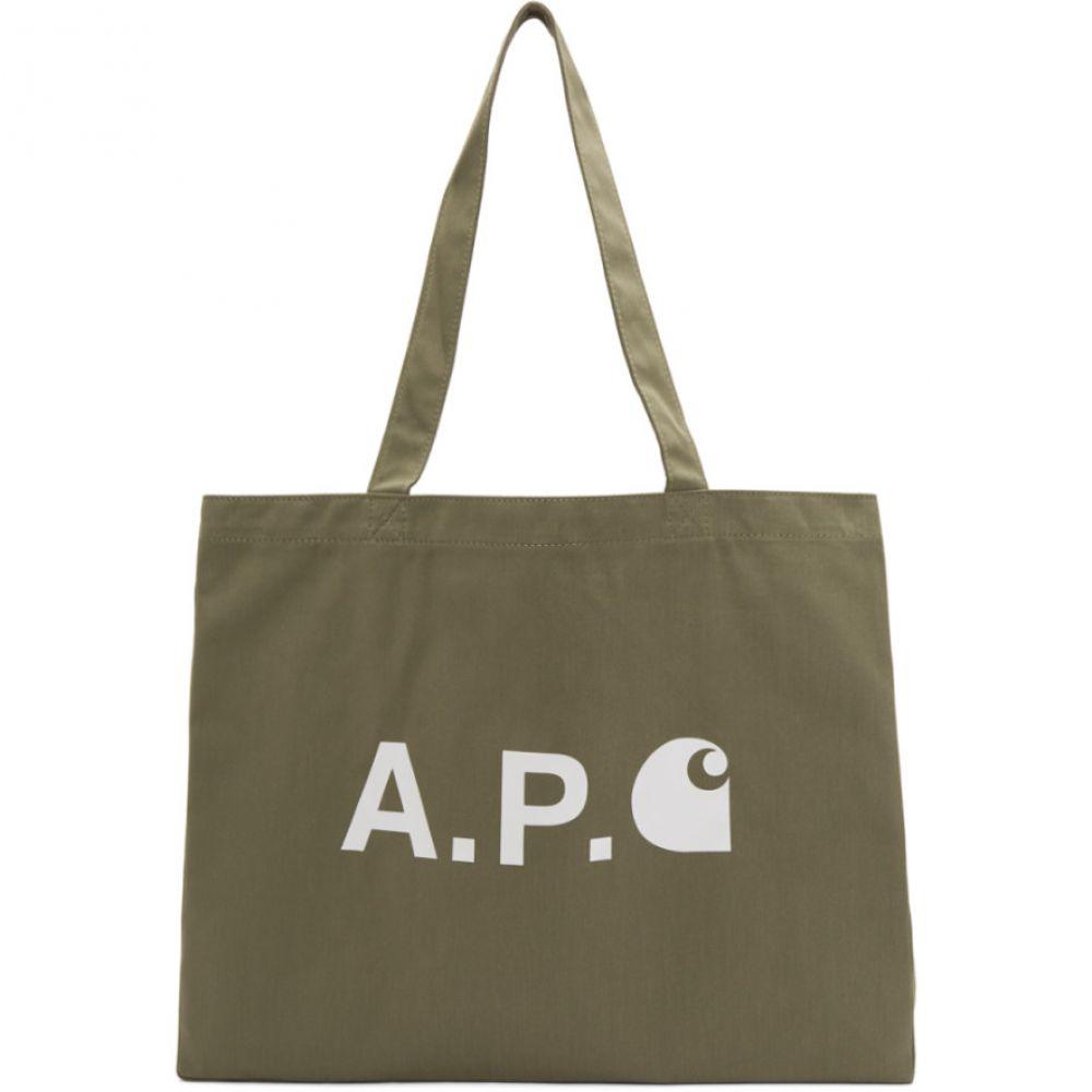 アーペーセー A.P.C. レディース トートバッグ バッグ【Khaki Carhartt WIP Edition Logo Tote】Kaki