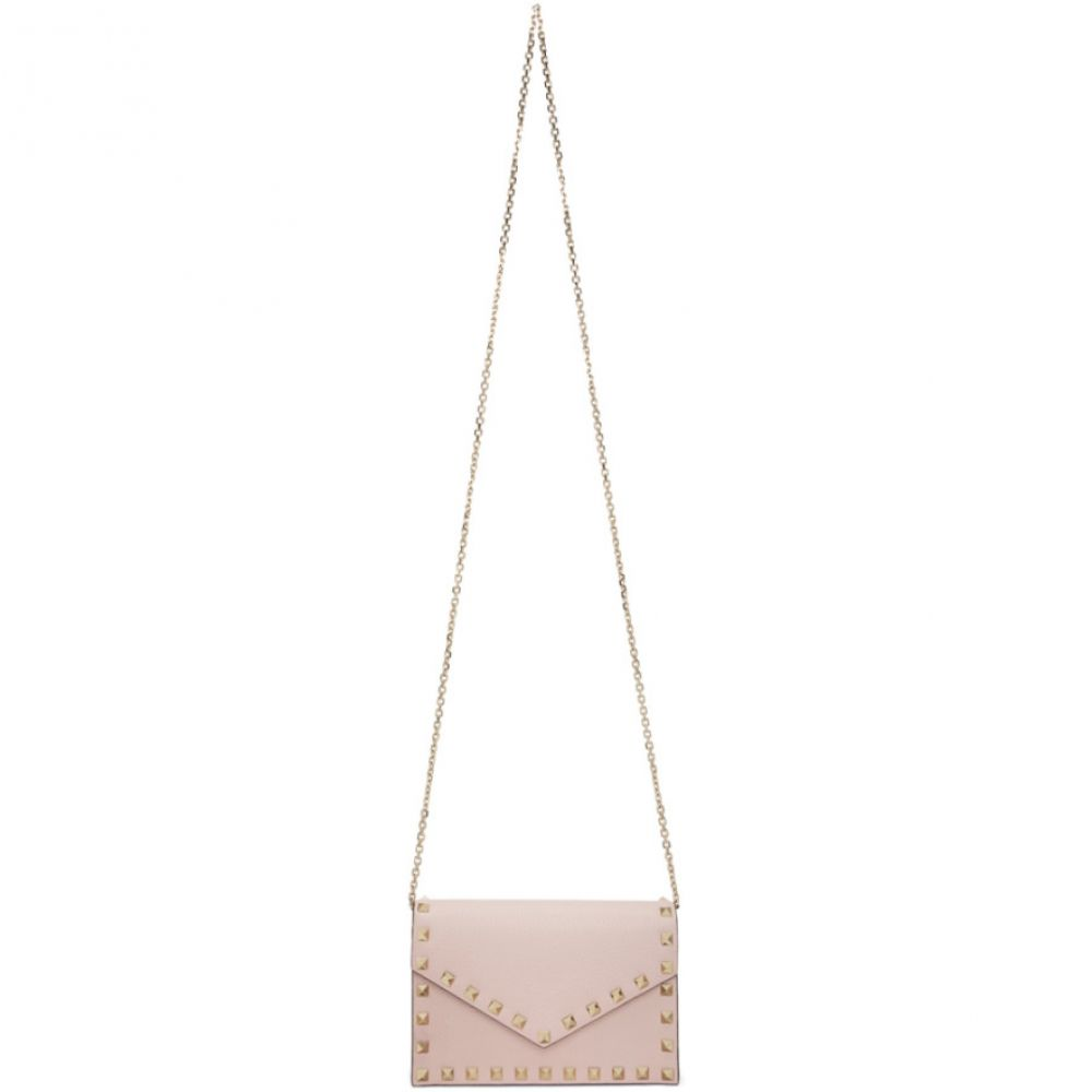 ヴァレンティノ Valentino レディース ショルダーバッグ バッグ【Pink Garavani Rockstud Envelope Wallet Bag】Rose quartz