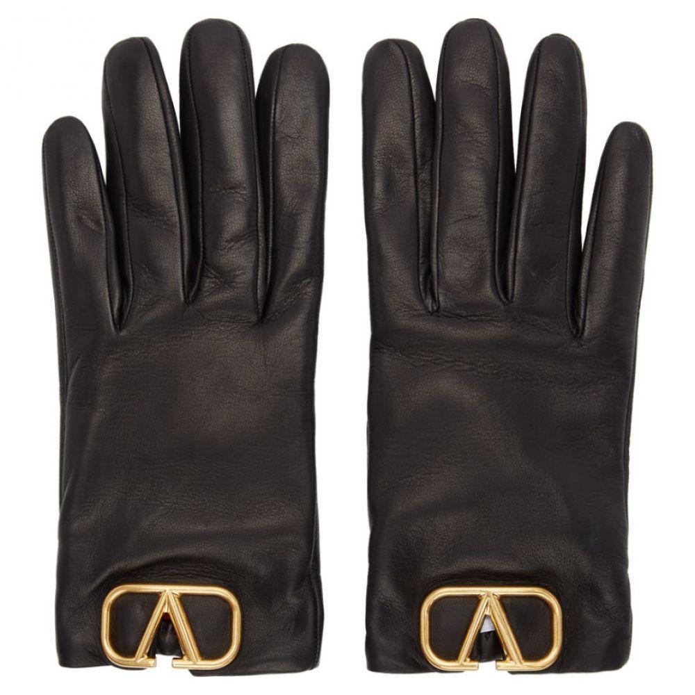 ヴァレンティノ Valentino レディース 手袋・グローブ 【Black Garavani Leather VLogo Gloves】Black