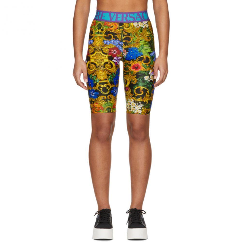ヴェルサーチ Versace Jeans Couture レディース ショートパンツ ボトムス・パンツ【Multicolor Tropical Barocco Bike Shorts】Black/Multicolor