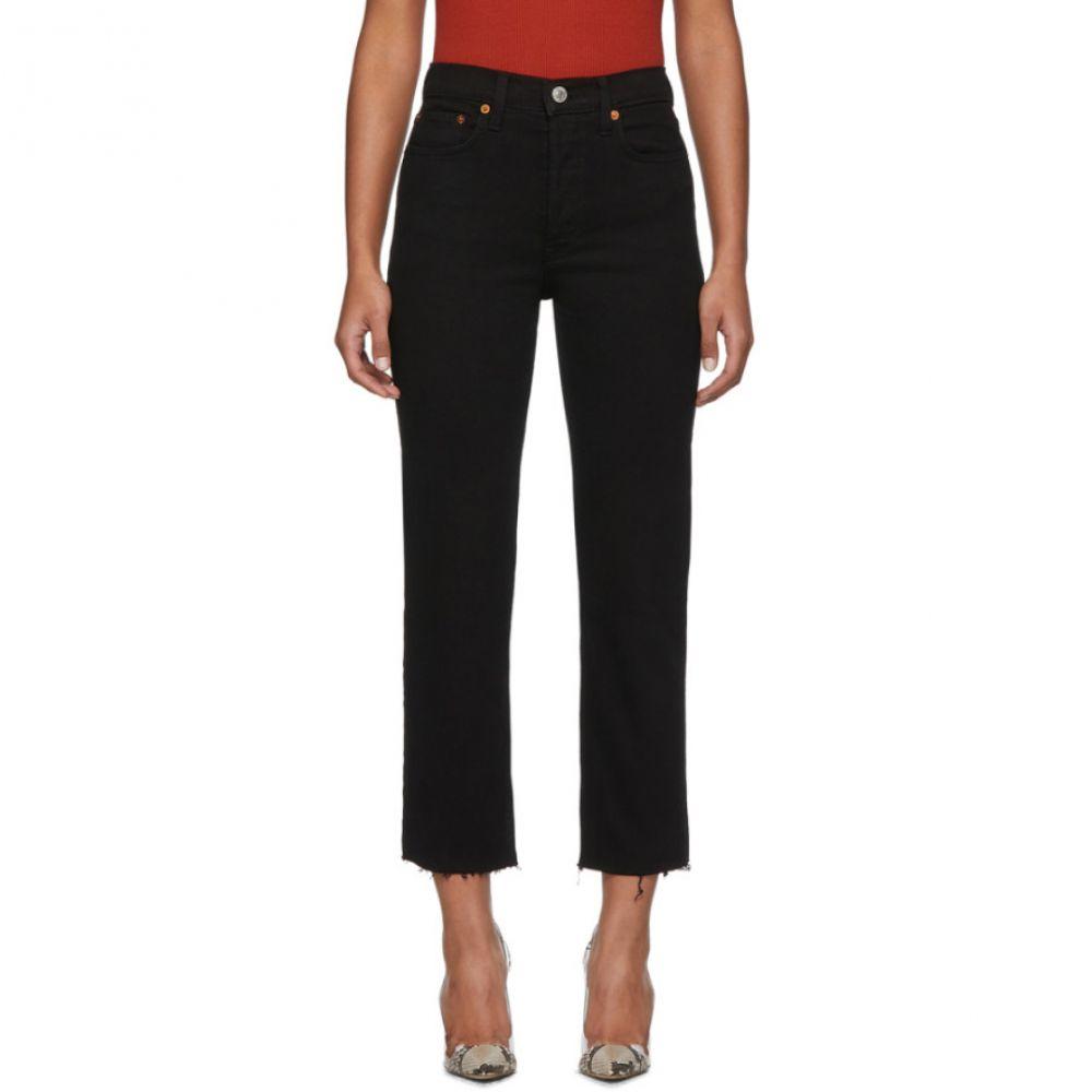 リダン Re/Done レディース ジーンズ・デニム ボトムス・パンツ【Black High-Rise Stove Pipe Jeans】Black