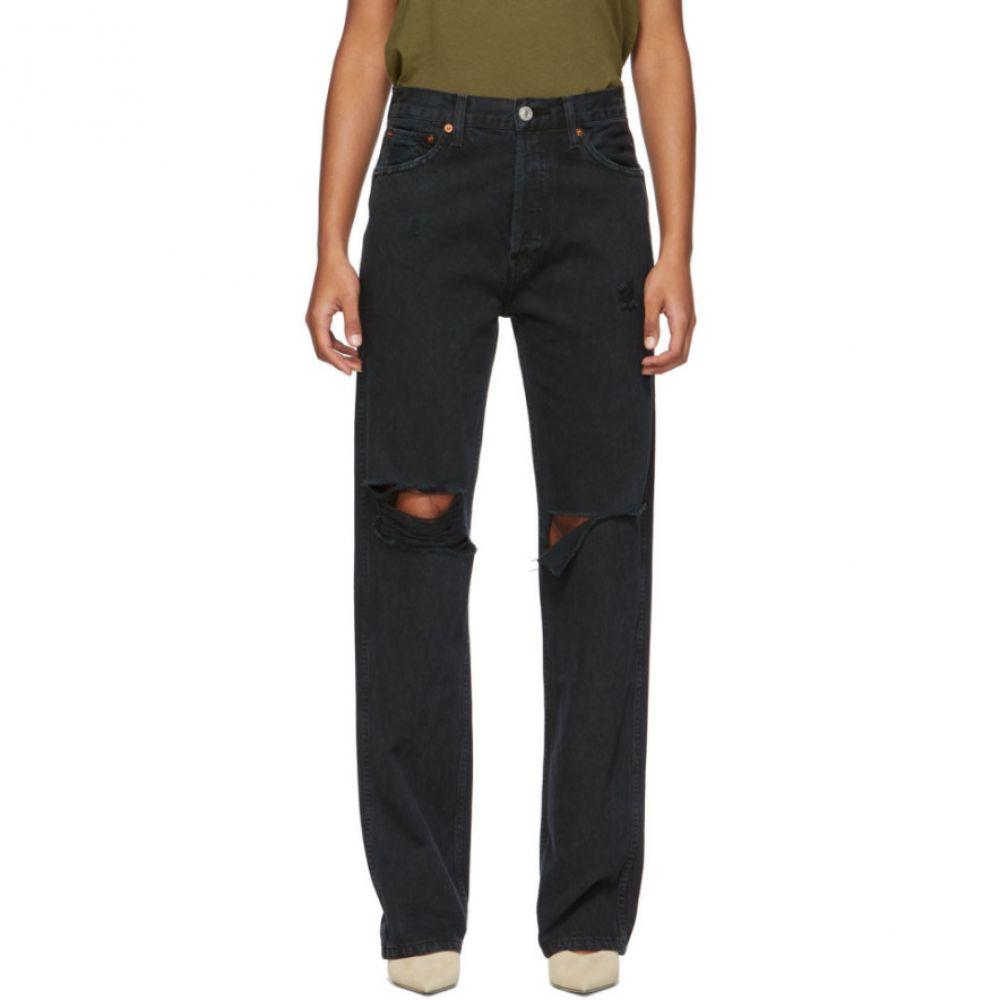 リダン Re/Done レディース ジーンズ・デニム ボトムス・パンツ【Black Rips High-Rise Loose Jeans】Black