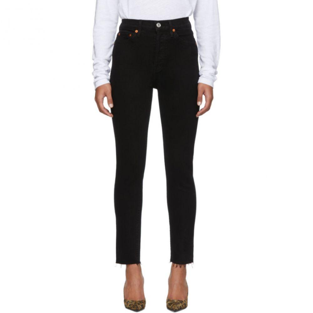 リダン Re/Done レディース ジーンズ・デニム ボトムス・パンツ【Black High Rise Ankle Crop Jeans】Black