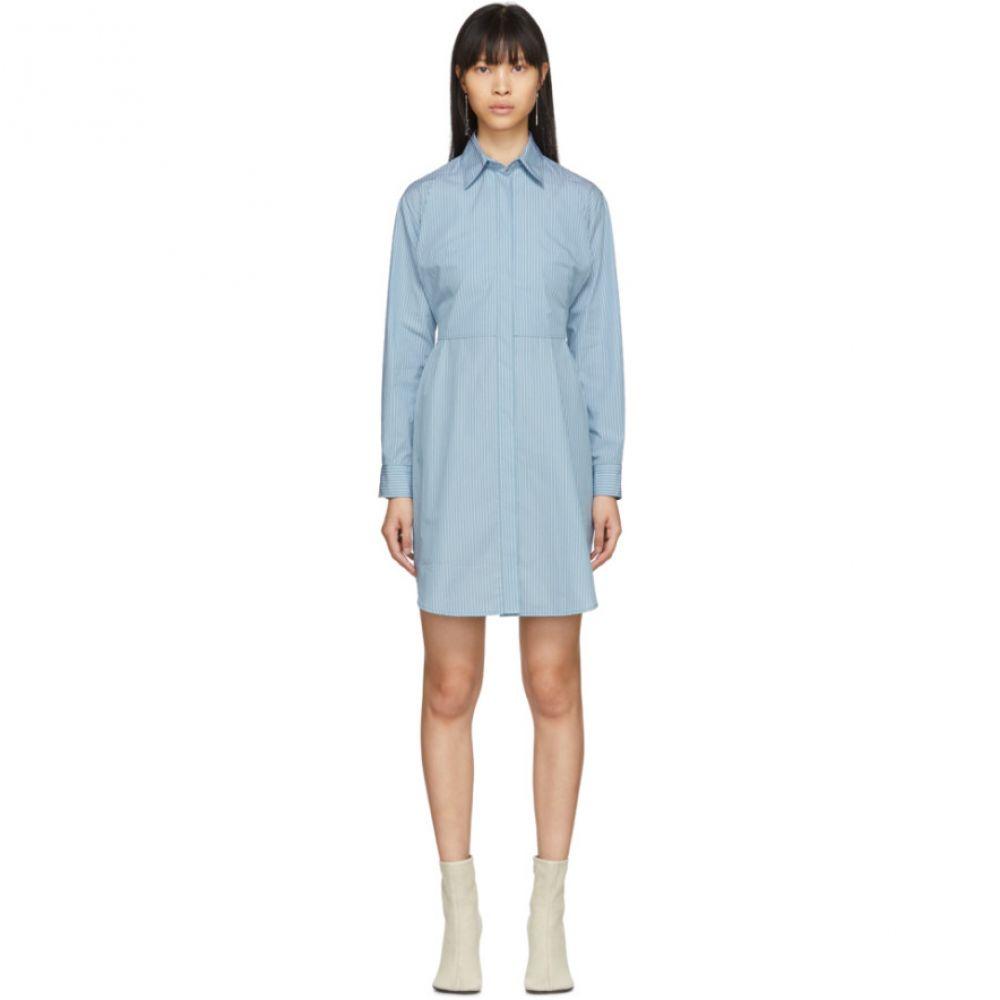 メゾン マルジェラ MM6 Maison Margiela レディース ワンピース シャツワンピース ワンピース・ドレス【Blue Striped Poplin Shirt Dress】Ice blue