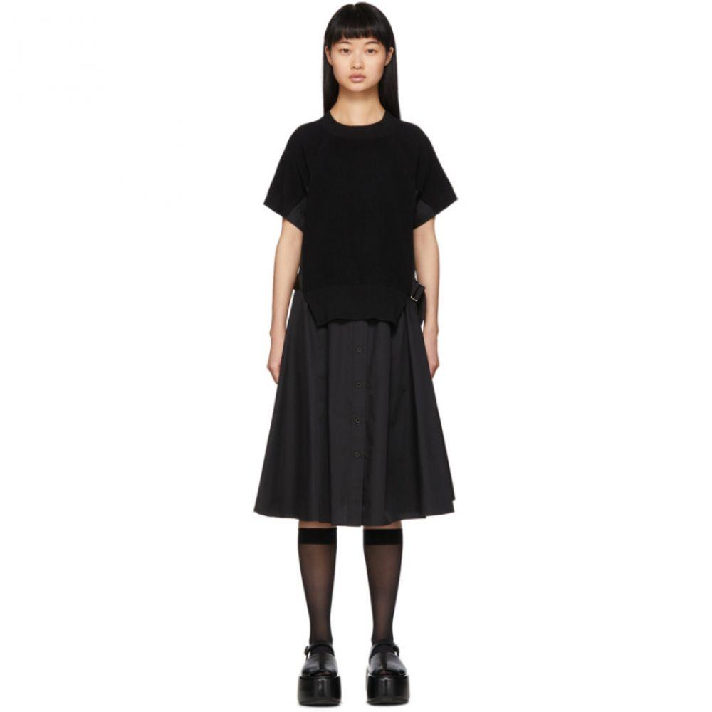サカイ Sacai レディース ワンピース ワンピース・ドレス【Black Knit Panel Dress】Black